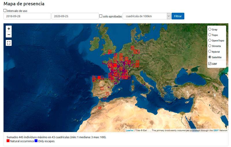 Mapa de distribución de especies