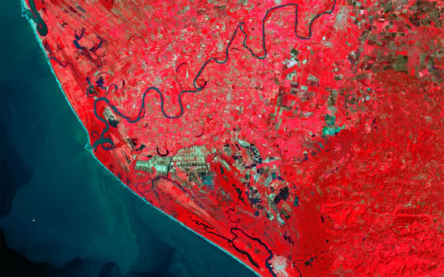 Imagen Landsat a falso color