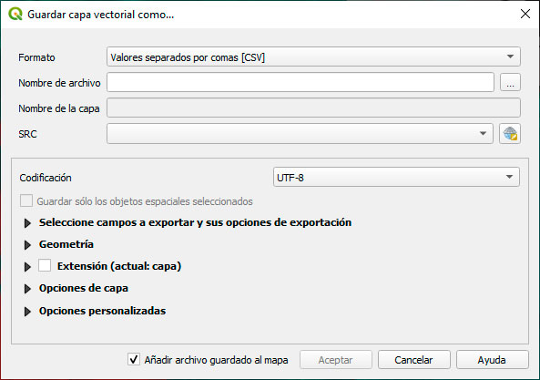 Guardar coordenadas en CSV para Maxent