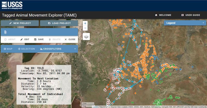 Mapas de radioseguimiento de especies con TAME