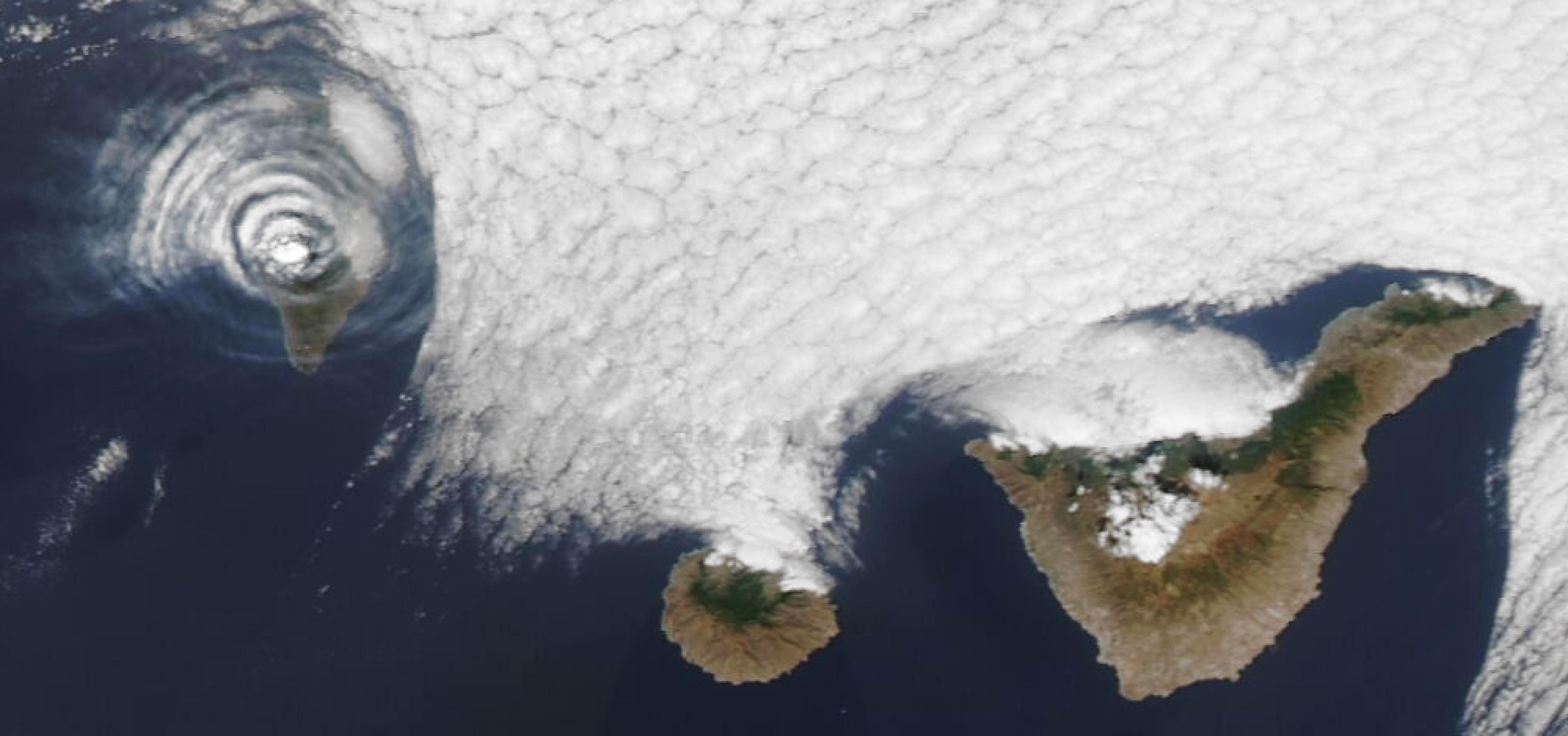 Ondas gravitatorias sobre el volcán La Palma