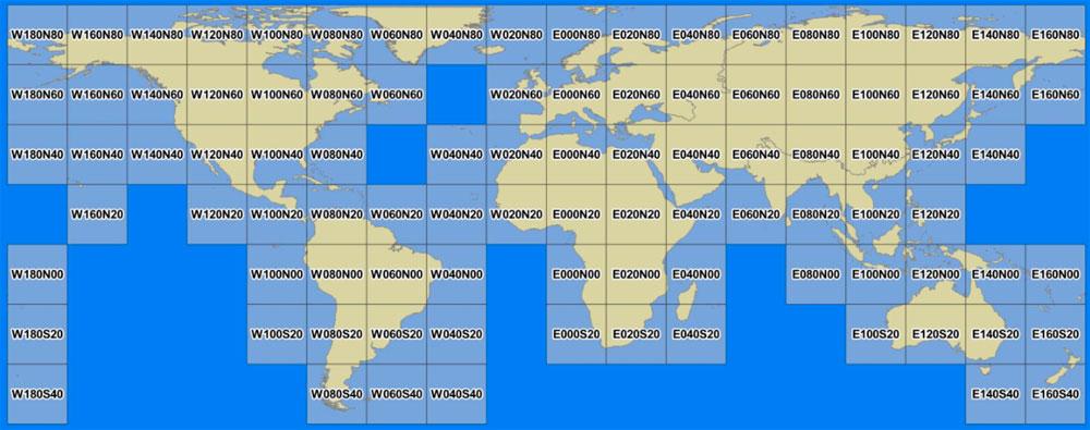 Cobertura de cuadrículas mundiales satélite