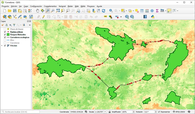 Creación de corredores ecológicos en QGIS