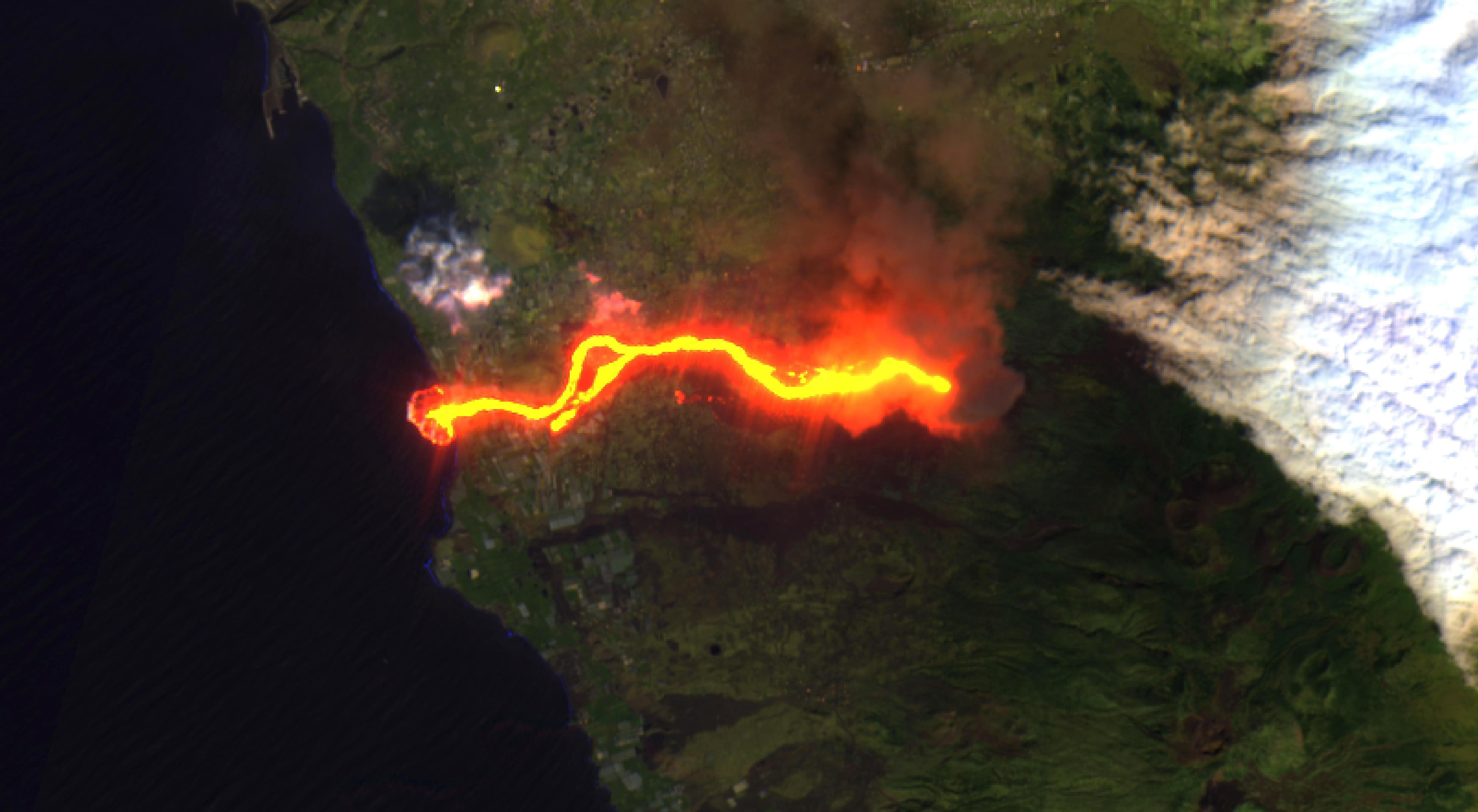 Imagen satélite del Delta del volcán Cumbre Vieja de La Palma