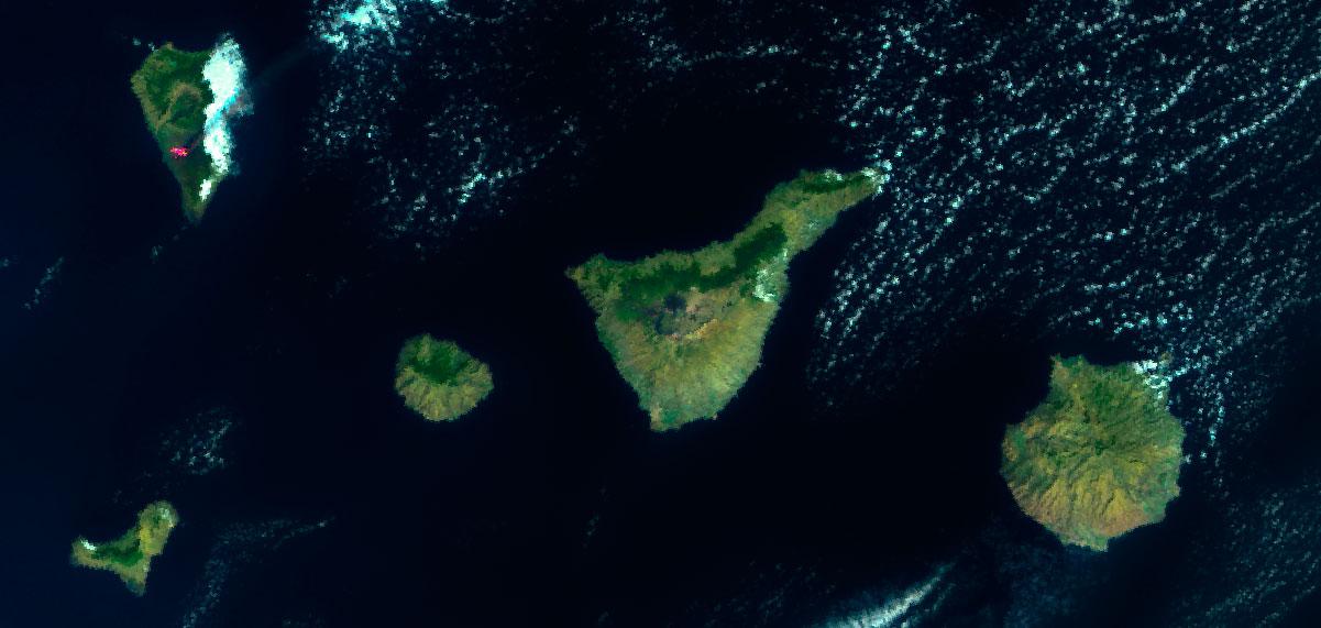 Volcán de La Palma imagen satélite