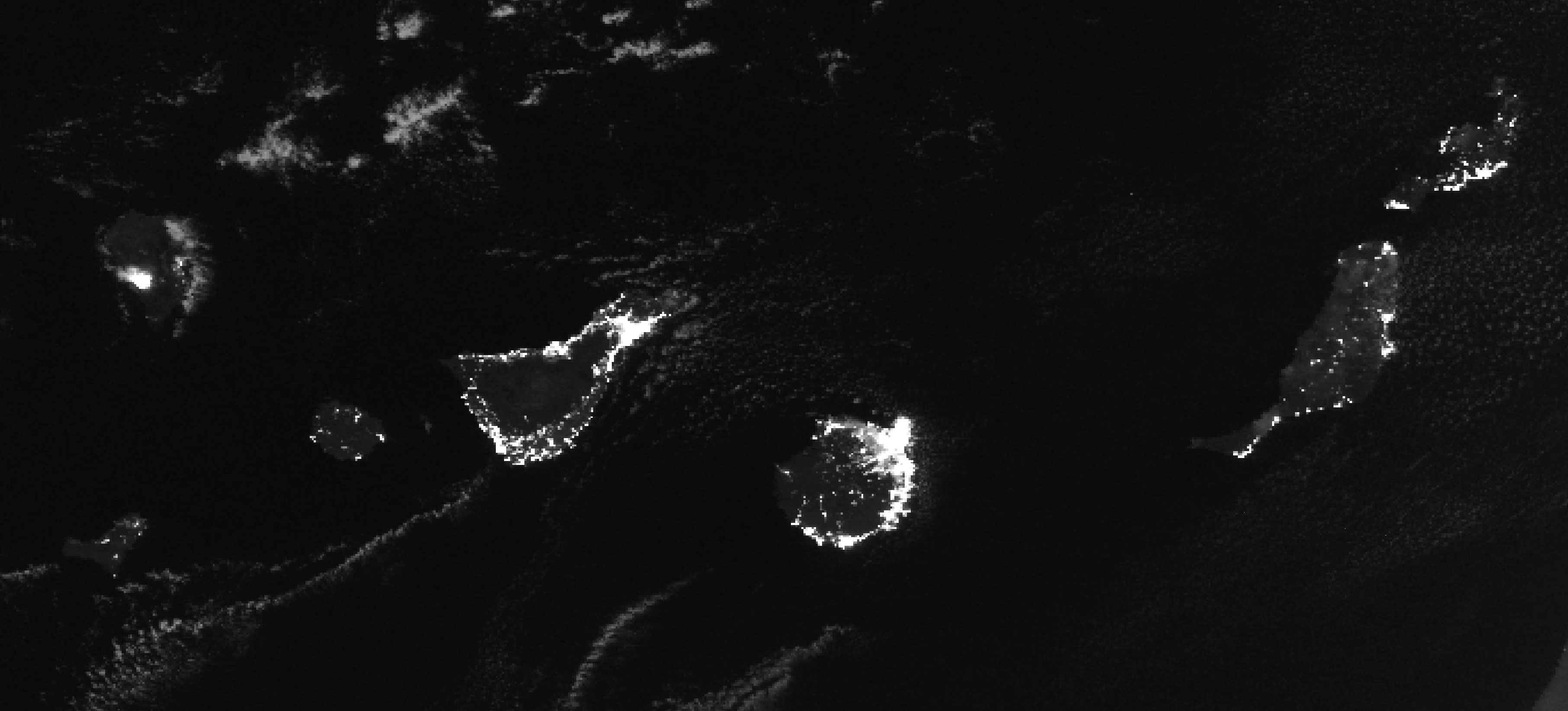 Imagen Satélite nocturna de las Islas Canarias VIIRS
