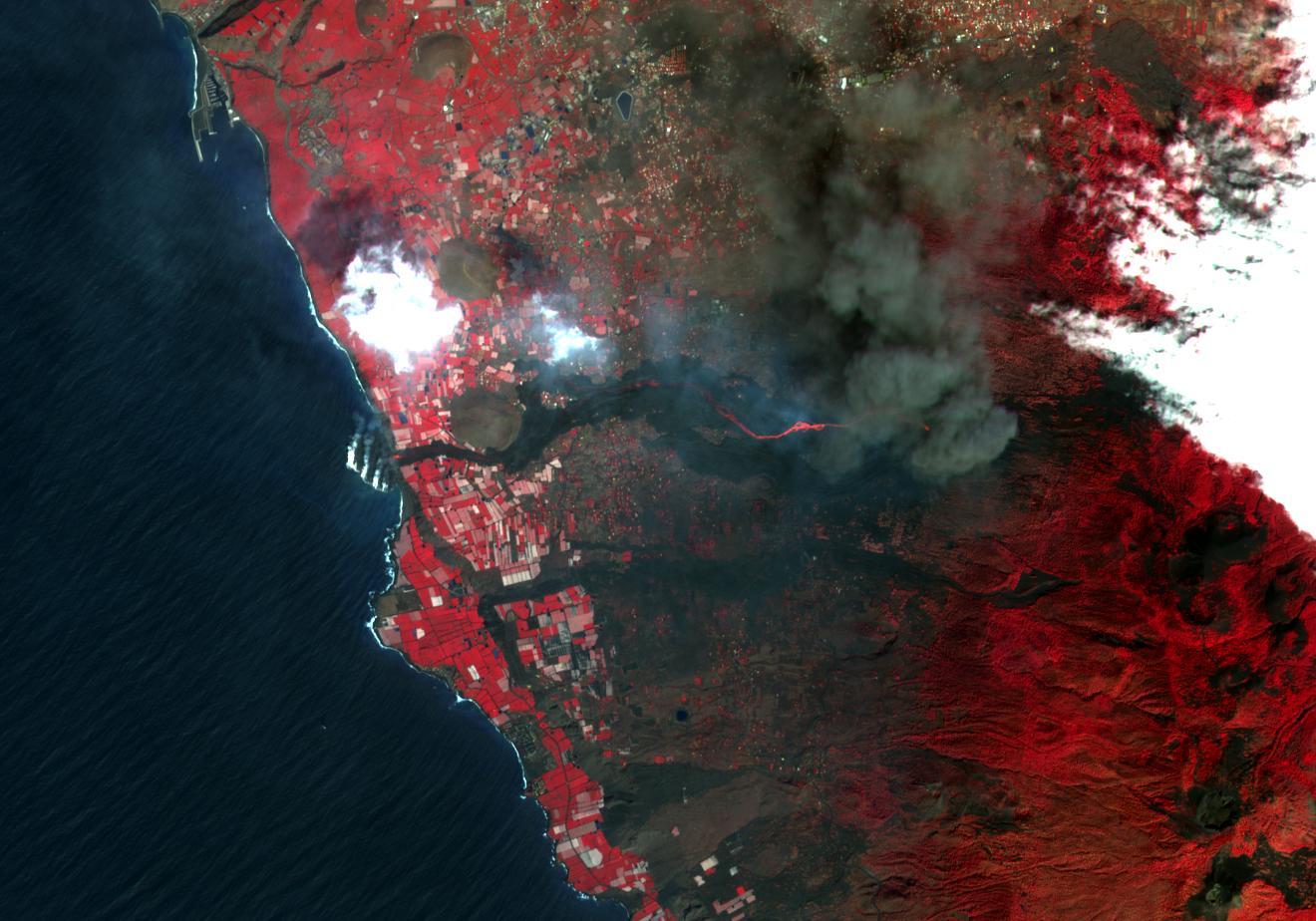Imagen satélite del delta del volcán de La Palma