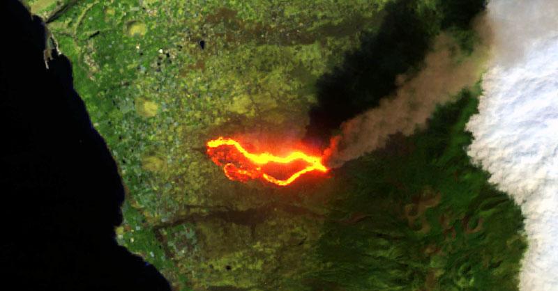 Imagenes satélite del volcán de La Palma en erupción