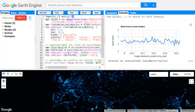 Graficas de series de datos en Google Earth Engine