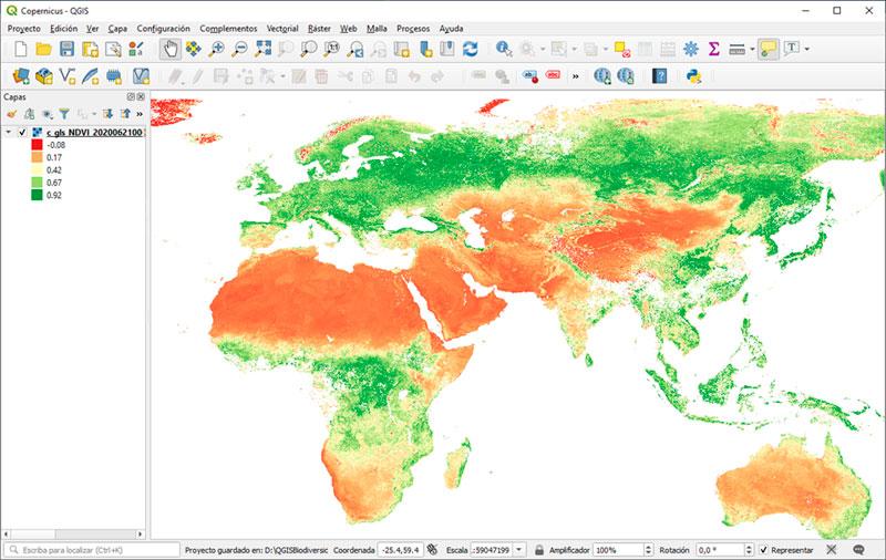 Indice de Vegetación NDVI mundial